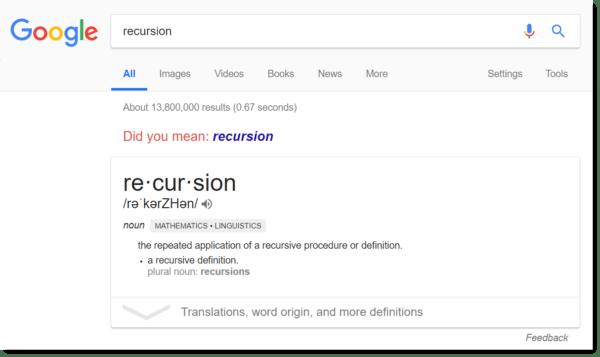 Google easter egg: recursion