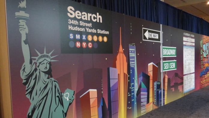 Image of the statue of liberty and other NYC landmarks at the SMX East show in New York City