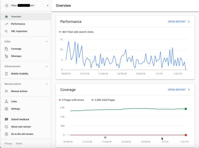 Google Search Console Overview Screenshot