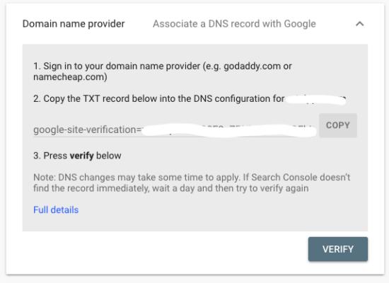 GSC Verify Domain Button