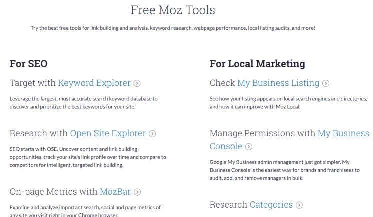 top tools for seo