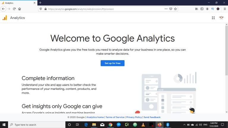 Google Analytics welcome screen