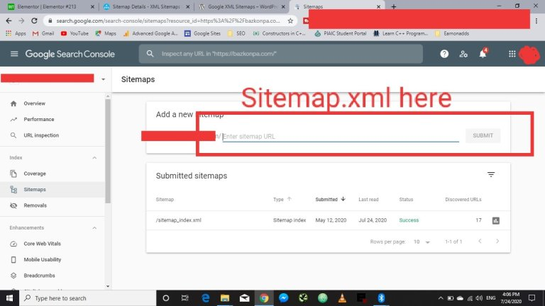 submit sitemap in search console