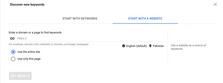 Google Keyword Planner with website