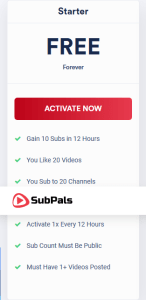 Subpals free YouTue subcribers plan