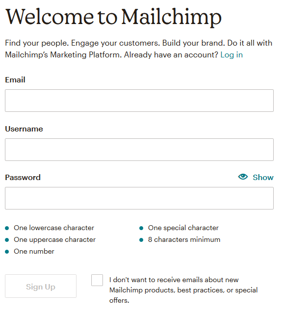 Signup for Mailchimp free account