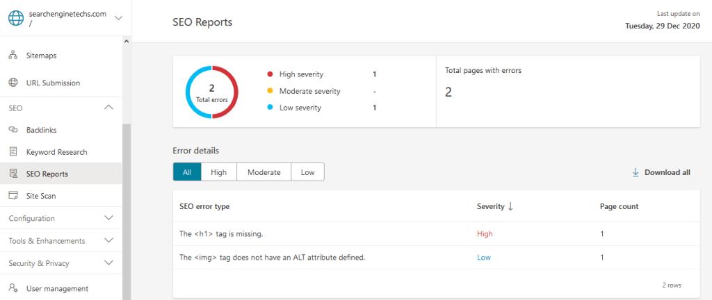 SEO Reports - Bing Webmaster Tools