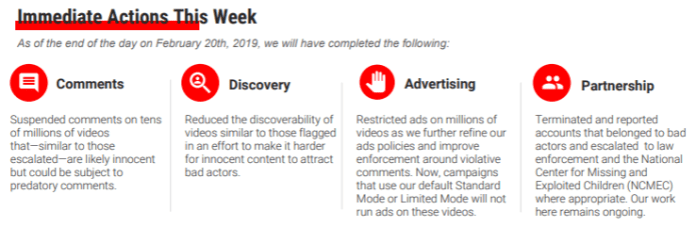 YouTube memo with immediate actions they're taking to address issues