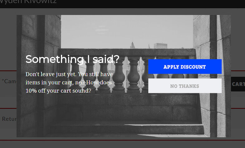 Example of utilizing exit-intent popups to improve site bounce rate