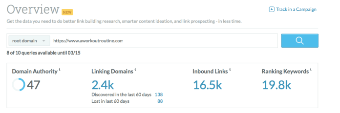 Screenshot of Moz's result for aworkoutroutline.com