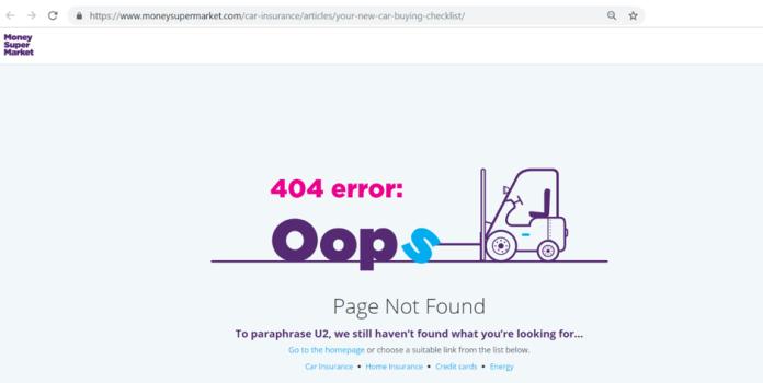 Snapshot of the 404 error