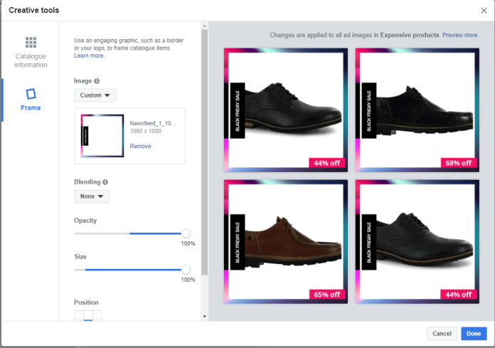Customizing your ad Facebook dynamic ad experience