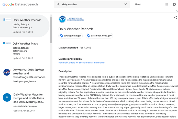 Example of Google Dataset Search result