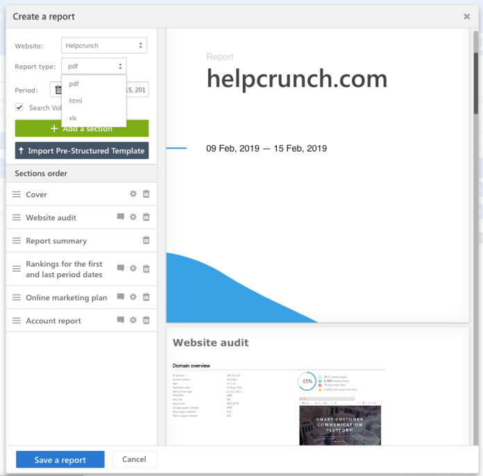 Example of report creation in helpcrunch
