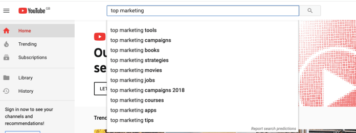 Example of using YouTube's auto-fill feature to find the best keywords