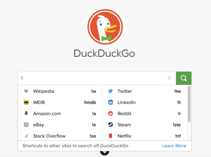 duckduckgo shortcuts to other sites
