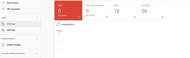Screenshot of viewing error reports in Google Search Console