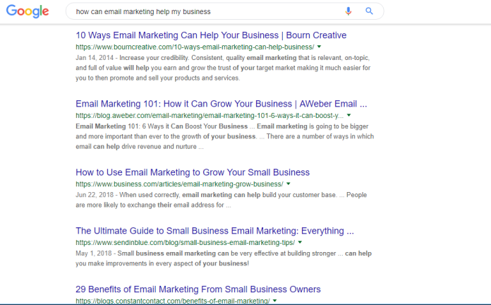 "screenshot example of Google SERP for search query ""how can email marketing help my business?"""
