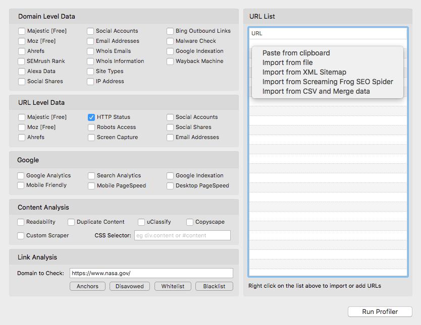 Screenshot of bulk data listing that URL Profiler provides at a URL and domain level