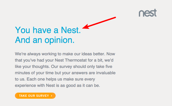 """example of how how nest uses the """"What's in it for me?"""" aspect"""