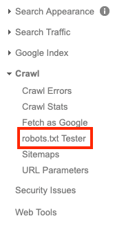 google search console step two, tester tool for robots.txt file
