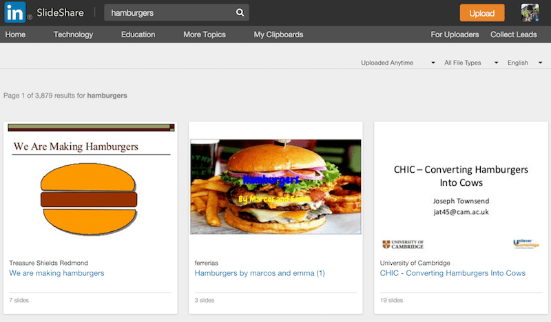 hamburgers on SlideShare