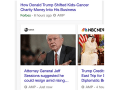 Image shows screenshot of Google Search for Trump – showing three Accelerated Mobile Page articles