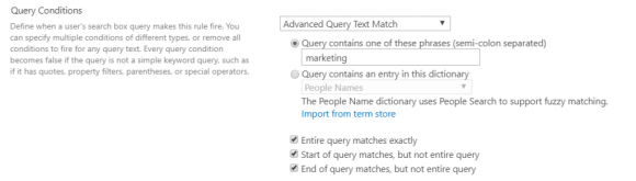 SharePoint Search Query Rule Query Conditions