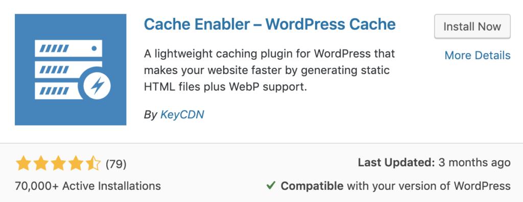 Cache enabler plugin