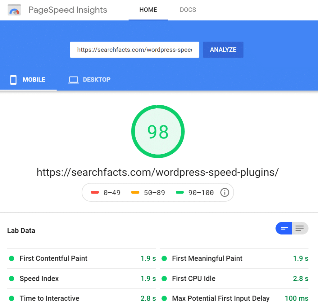 Google pagespeed score with native lazy load