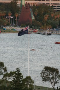Australian flag and Swan Bell Tower in the background