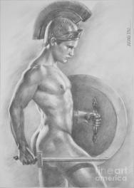 original-drawing-sketch-charcoal-male-nude-gay-man-art-pencil-on-paper-073-hongtao--huang