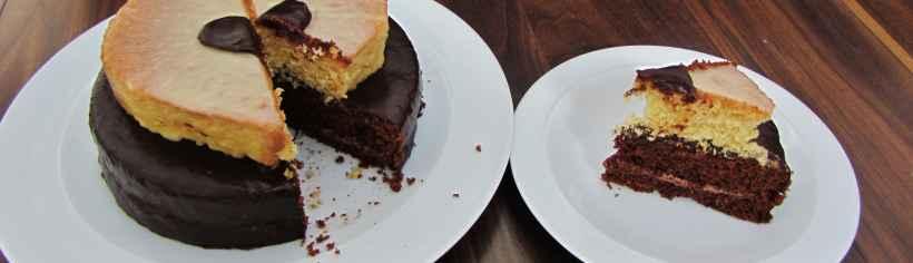 Chocolate and strawberry valentines heart cake