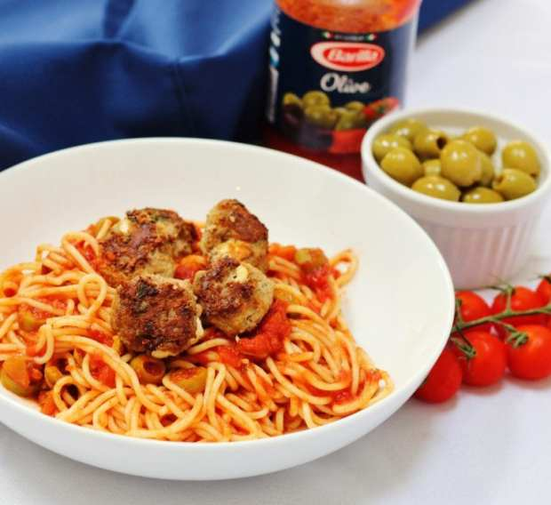 Three easy pasta recipes with Barilla - Lamb and feta meatball spaghetti