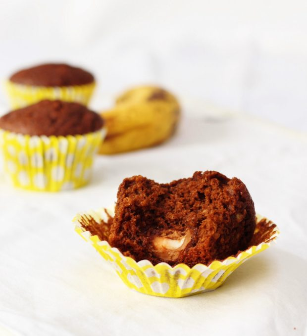 Chocolate and banana creme egg surprise muffins
