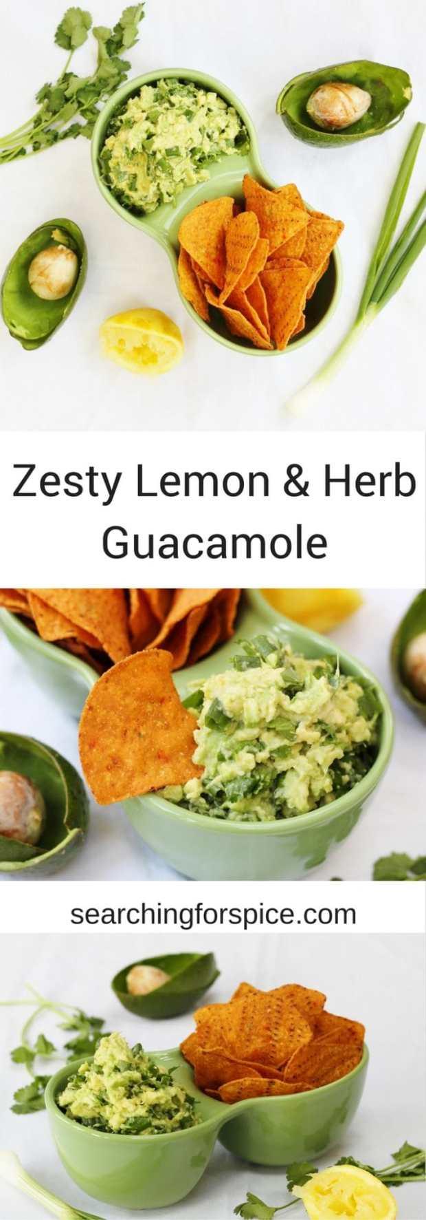 Recipe for zesty lemon and herb guacamole. Simple easy to make dip made with avocados, lemon, garlic and coriander (cilantro).