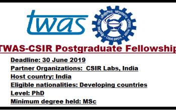 Apply For TWAS-SN Bose Postgraduate Fellowship Programme, 2019/2020 Session