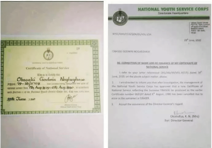 Victory For Obaseki As NYSC Issues Him A New Certificate