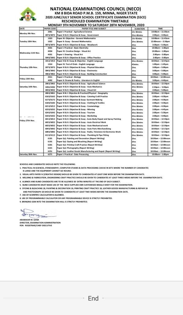 NECO New Timetable 2020 Released (View full timetable) 1