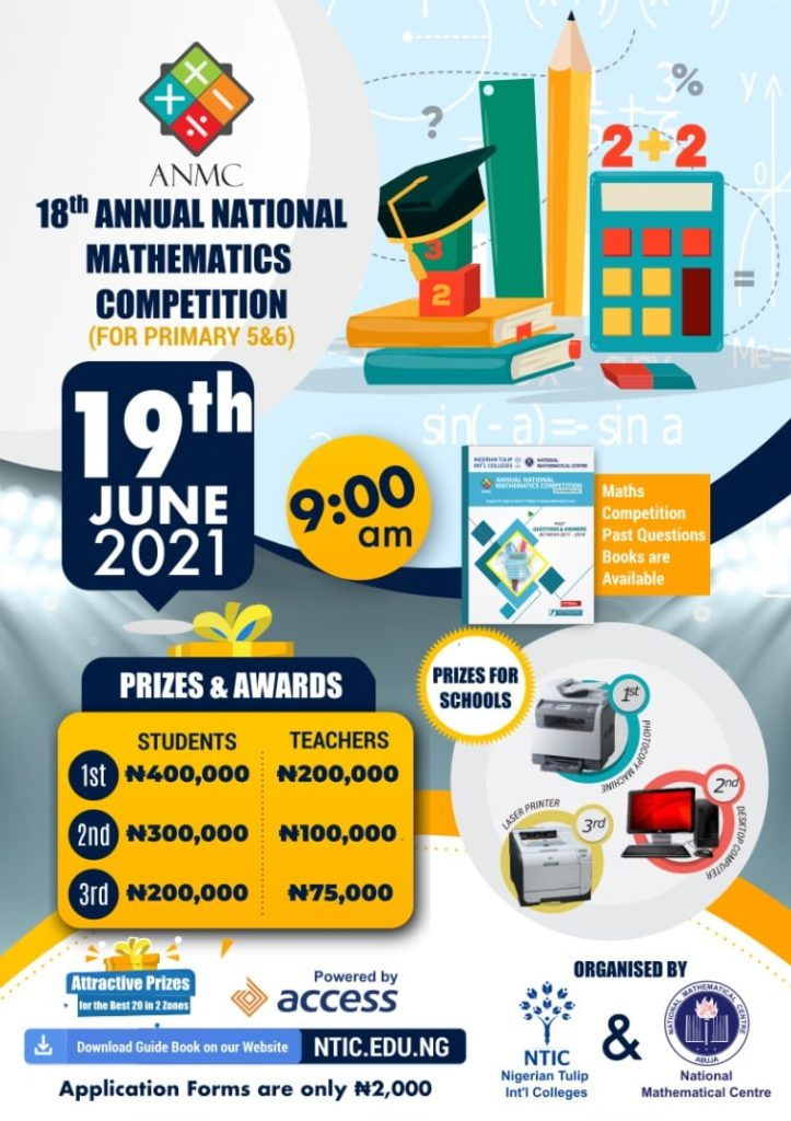Apply For NTIC/NMC Annual National Mathematics Competition 2021 2