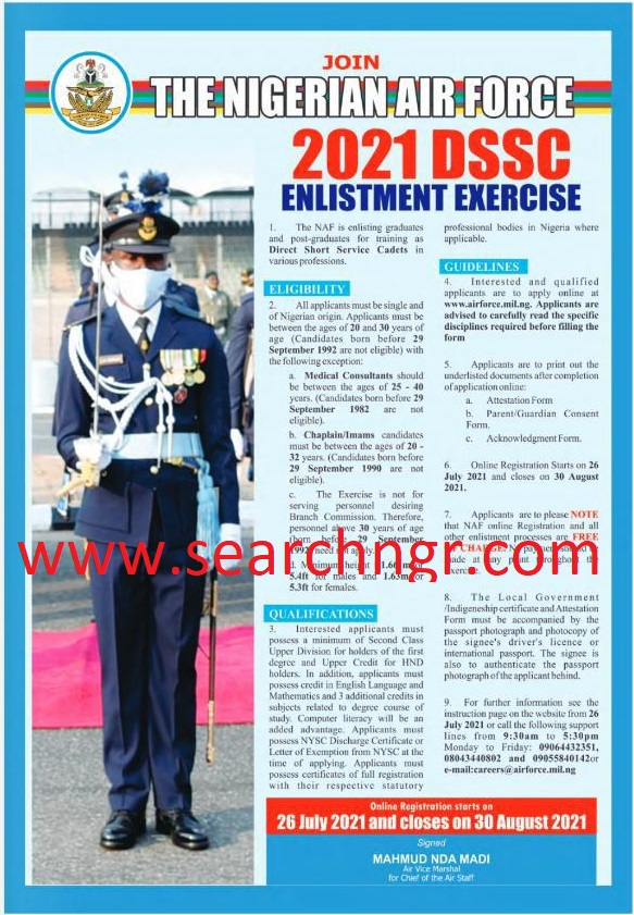 Nigerian Air Force, NAF DSSC Recruitment 2021 Begins for (How to apply) 1