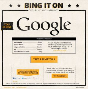 Bing It On Results Favoring Google
