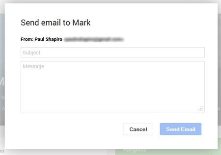 sending outreach emails from within google+