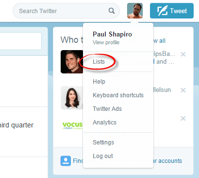 where to view twitter lists on the website