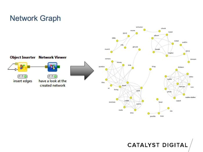 network / node graph visualization which is useful for examing semantic keyword relations