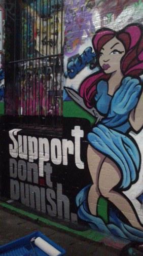 Support Dont Punish mural, Hosier Lane Melbourne VIC 2015