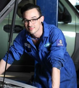 Mechanic apprentice, Michael Butler at Searles Auto Repair