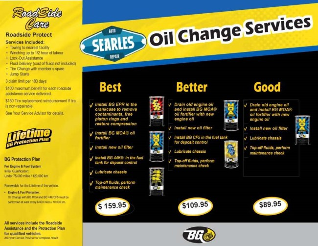 Searles Oil Change Service Options