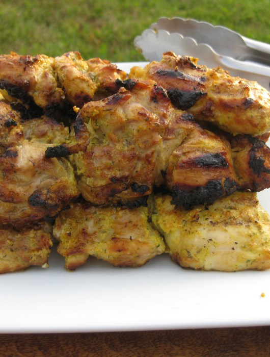 grilled chicken thighs marinated in yogurt garlic tumeric