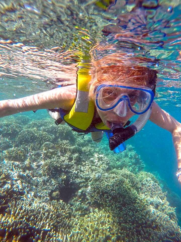 snorkeler at menjangan island